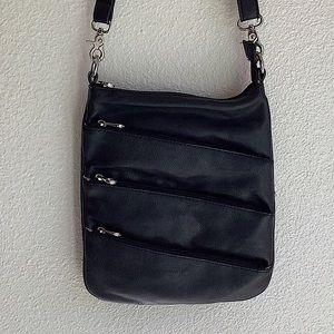 Co-Lab Vegan Leather Crossbody Moto Bag Black
